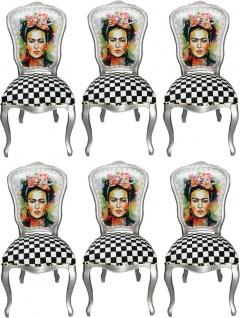 Casa Padrino Luxus Barock Esszimmer Set Madmoisell Silber / Mehrfarbig 55 x 54 x H. 103 cm - 6 handgefertigte Esszimmerstühle - Barock Esszimmermöbel
