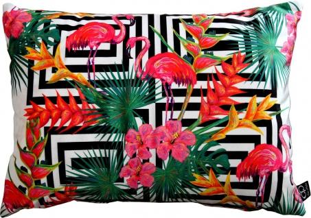 Casa Padrino Luxus Kissen Miami Flamingos & Flowers Mehrfarbig 35 x 55 cm - Feinster Samtstoff - Deko Wohnzimmer Kissen