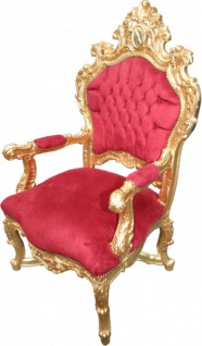 Casa Padrino Barock Thron Sessel Bordeaux Rot / Gold - Unikat - Barock Möbel Tron Königssessel - Vorschau 3