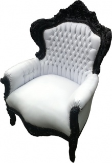 Casa Padrino Barock Sessel King weiß / schwarz in Lederoptik 85 x 85 x H. 120 cm