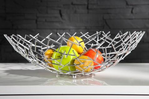 Designer Obstschale Structure silber aus silbernem Metall Höhe 15 cm, Durchmesser 45 cm - Schale, Obstkorb, Deko Schale - Vorschau 1