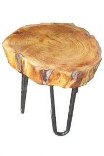 Casa Padrino Beistelltisch Akazien Holz / Eisen 33 - 45 cm - Industrial Möbel Hocker Tisch