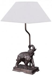 Casa Padrino Tischleuchte Elefant Bronze 35 x 29 x H. 50 cm - Luxus Tischlampe mit weißem Lampenschirm
