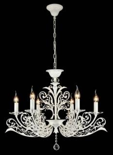 Casa Padrino Barock Kristall Decken Kronleuchter Weiß Gold 74 x H 59 cm Antik Stil - Möbel Lüster Leuchter Hängeleuchte Hängelampe