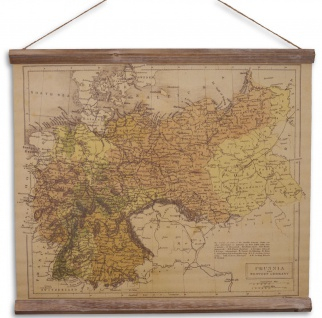 Casa Padrino Wandkarte Preussen & Westdeutschland Braun / Mehrfarbig 60 x H. 53 cm - Dekorative Schulkarte