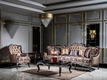 Casa Padrino Luxus Barock Wohnzimmer Set Gold / Lila - 2 Sofas & 2 Sessel & 1 Couchtisch - Handgefertigte Wohnzimmer Möbel im Barockstil - Edel & Prunkvoll