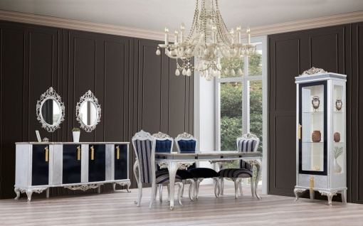 Casa Padrino Luxus Barock Vitrine Silber / Schwarz / Gold - Handgefertigter Massivholz Vitrinenschrank - Barock Wohnzimmer Möbel - Vorschau 2