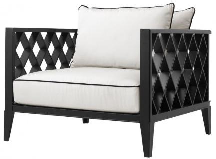 Casa Padrino Luxus Wohnzimmer Sessel mit Kissen Mattschwarz / Weiß 96, 5 x 93, 5 x H. 68, 5 cm - Wohnzimmer Möbel