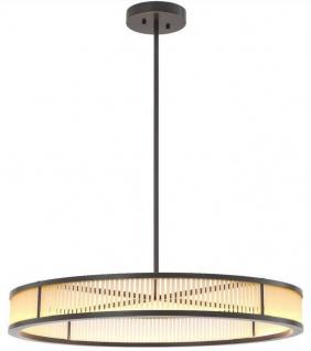 Casa Padrino Luxus LED Kronleuchter Bronzefarben / Weiß Ø 90 x H. 15 cm - Moderner runder dimmbarer Kronleuchter - Luxus Qualität