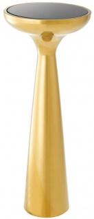 Casa Padrino Luxus Edelstahl Beistelltisch mit Glasplatte Gold / Schwarz Ø 29 x H. 71, 5 cm - Hotel Möbel