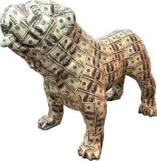 Casa Padrino Designer Dekofigur Hund Bulldogge mit Dollar Design 90 x H. 74 cm - Wetterbeständige Deko Skulptur - Wohnzimmer Deko - Garten Deko - Designer Deko Tierfigur