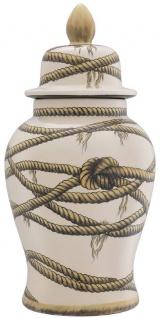 Casa Padrino Luxus Porzellan Vase Beige Ø 31 x H. 67 cm - Runde Blumenvase mit Deckel - Deko Accessoires