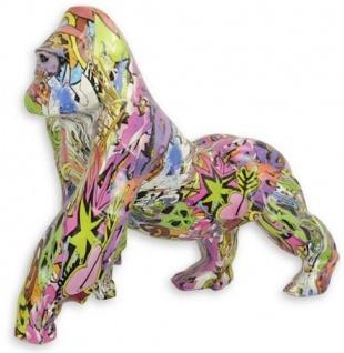 Casa Padrino Designer Kunstharz Dekofigur Gorilla Affe Bunt 57, 1 x 28 x H. 47, 5 cm - Wohnzimmer Deko Skulptur - Deko Accessoires