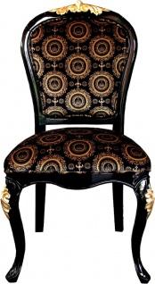 Pompöös by Casa Padrino Luxus Barock Esszimmerstühle mit Krone Schwarz / Gold - Pompööse Barock Stühle designed by Harald Glööckler - 6 Esszimmerstühle - Barock Esszimmermöbel - Vorschau 2