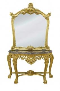 Casa Padrino Luxus Spiegelkonsole mit Marmorplatte - Barock Spiegelkonsole