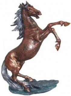Casa Padrino Dekofigur Wildes Pferd Bronze / Silber H. 92 cm - Wetterbeständige Deko Skulptur - Wohnzimmer Deko - Garten Deko - Designer Deko Tierfigur