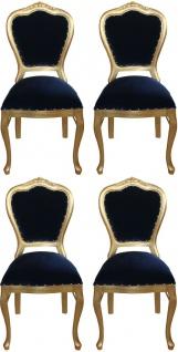 Casa Padrino Luxus Barock Esszimmer Set Royalblau / Gold 45 x 46 x H. 99 cm - 4 handgefertigte Esszimmerstühle - Barock Esszimmermöbel