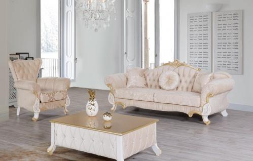 Casa Padrino Barock Couchtisch Beige / Weiß / Gold 100 x 64 x H. 43 cm - Edler Barockstil Wohnzimmertisch mit Glitzersteinen - Barock Möbel - Vorschau 3