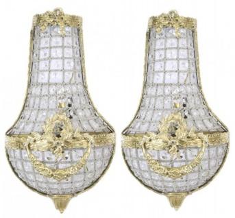Casa Padrino Barock Wandleuchten Set Kristall Gold - Wandlampe Wand Beleuchtung