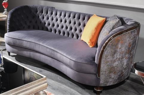 Casa Padrino Luxus Barock Sofa Lila / Braun / Silber - Handgefertigtes Wohnzimmer Sofa - Barock Wohnzimmer Möbel