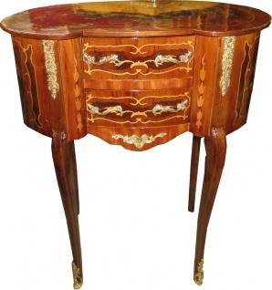 Casa Padrino Barock Kommode Mahagoni Intrasien Oval mit 2 Schubladen - Nachtschrank Antik Stil