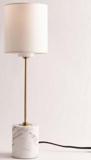 Casa Padrino Luxus Tischleuchte Antik Messing / Weiß Ø 15, 9 x H. 55, 9 cm - Moderne runde Tischlampe mit Lampenschirm aus Kunstseide und Marmorsockel - Vorschau 2