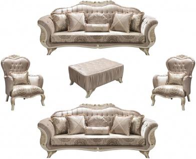 Casa Padrino Luxus Barock Wohnzimmer Set Grau / Creme / Gold - 2 Sofas & 2 Sessel & 1 Couchtisch - Wohnzimmermöbel im Barockstil - Edle Barock Möbel