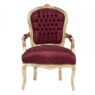 Casa Padrino Barock Salon Stuhl Mod1 Bordeaux Musterstoff / Gold