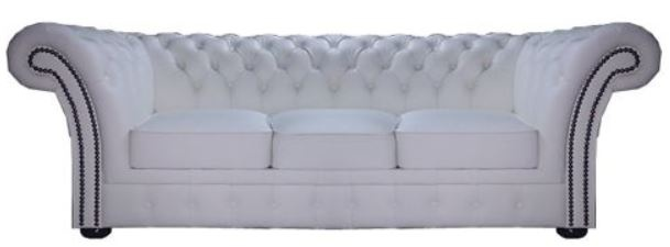 Casa Padrino Chesterfield Echtleder 3er Sofa Weiß 210 x 90 x H. 80 cm - Luxus Kollektion