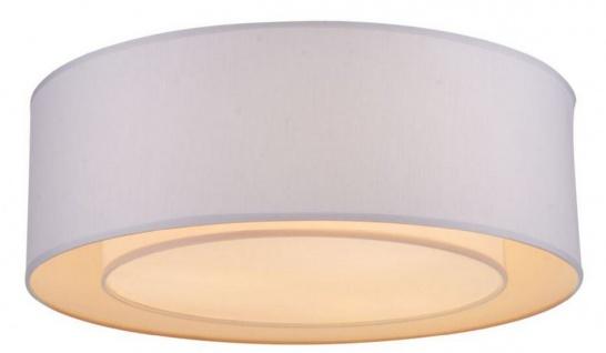 Casa Padrino Deckenleuchte Weiß / Grau Ø 52 x H. 17, 5 cm - Moderne stilsichere Leuchte mit Metallrahmen und Stoffbezug