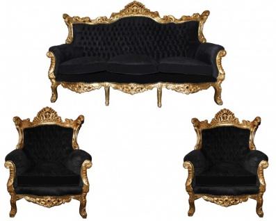 Casa Padrino Barock Wohnzimmer Set Master Schwarz / Gold Mod2 - 3-er Sofa + 2 Sessel