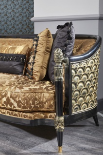 Casa Padrino Luxus Barock Wohnzimmer Set Gold / Schwarz - 1 Sofa & 2 Sessel & 1 Couchtisch & 1 Beistelltisch - Prunkvolle Barock Möbel - Luxus Qualität - Made in Italy - Vorschau 3