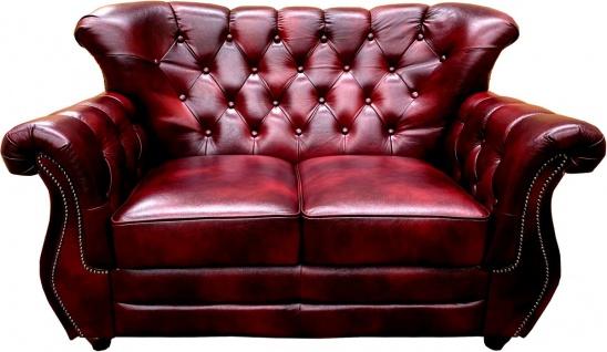 Casa Padrino Luxus Chesterfield Leder 2er Sofa Bordeauxrot - Echtleder Wohnzimmer Sofa - Chesterfield Wohnzimmer Möbel