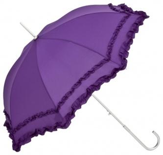 MySchirm Designer Automatikschirm mit zwei schönen Rüschenborten violett - Eleganter Stockschirm - Automatikschirm