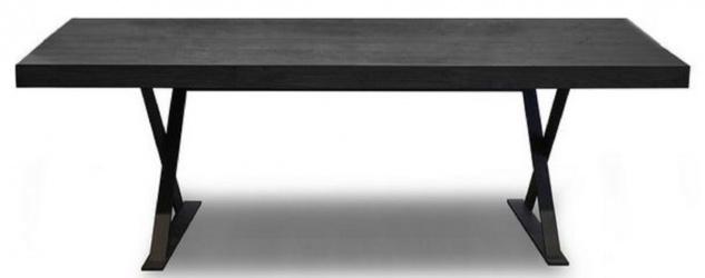 Casa Padrino Luxus Massivholz Esstisch Schwarz 180 x 100 x H. 76 cm - Massiver Küchentisch - Massivholz Möbel