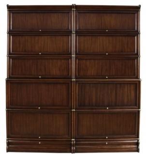 Casa Padrino Luxus Mahagoni Bücherschrank mit 10 Glastüren und 2 Schubladen Dunkelbraun 172 x 36, 5 x H. 197 cm - Luxus Büromöbel
