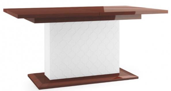 Casa Padrino Luxus Esstisch Hochglanz Braun / Weiß 160-210 x 90 x H. 77 cm - Moderner Ausziehbarer Küchentisch