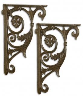 Casa Padrino Jugendstil Wandhalter Set Antik Braun 18 x H. 26, 6 cm - Barock & Jugendstil Wanddeko Accessoires
