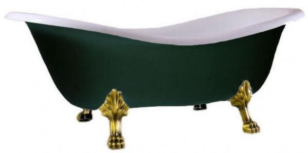 Casa Padrino Luxus Jugendstil Badewanne Weiß / Moosgrün / Gold 188 x 83 x H. 69 cm - Freistehende Retro Badewanne mit Löwenfüßen - Retro Badezimmer Möbel