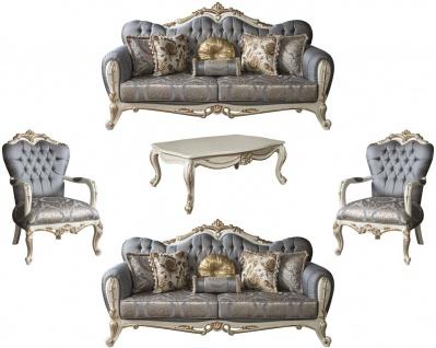 Casa Padrino Luxus Barock Wohnzimmer Set Blau / Weiß / Gold - 2 Sofas & 2 Sessel & 1 Couchtisch - Möbel im Barockstil - Edel & Prunkvoll