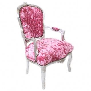 Casa Padrino Barock Salon Stuhl Pink Velour Stoff / Silber - Antik Design Möbel - Vorschau 3