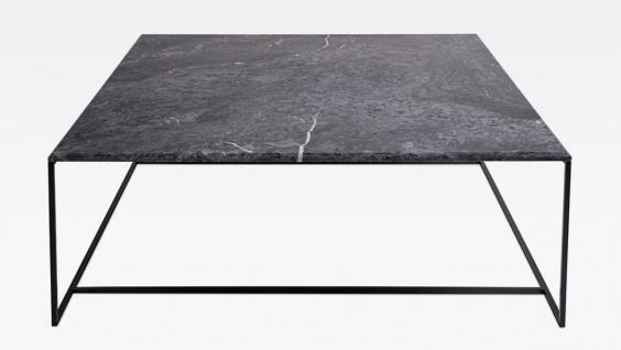 Casa Padrino Luxus Couchtisch Schwarz / Schwarz 120 x 120 x H. 35 cm - Moderner quadratischer Wohnzimmertisch mit Carrara Marmorplatte und Edelstahl Gestell - Luxus Wohnzimmer Möbel