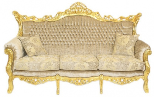Casa Padrino Barock Wohnzimmer Set Master Creme Samtstoff / Gold - 3er Sofa + 2 Sessel - Limited Edition! - Vorschau 2