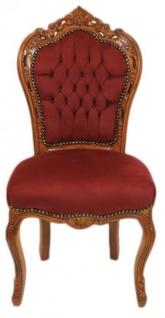 Casa Padrino Barock Esszimmer Stuhl Bordeaux / Braun - Antik Möbel