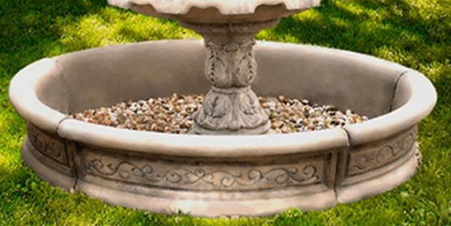 Casa Padrino Barock Springbrunnen Umrandung Grau Ø 192 x H. 36 cm - Runde Gartenbrunnen Umrandung - Brunnen Umrandung - Prunkvolle Gartendeko im Barockstil