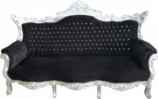 Casa Padrino Barock Sofa Master Schwarz / Silber mit Bling Bling Glitzersteinen - Möbel Couch Lounge