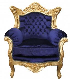 Casa Padrino Barock Wohnzimmer Set Royal Blau /Gold - 3er Sofa+2er Sofa + 1 Sessel - Vorschau 3