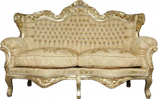 Casa Padrino Barock 2-er Sofa Master Gold Barock Muster/ Gold mit Bling Bling Glitzersteinen Mod3 - Wohnzimmer Couch Möbel Lounge