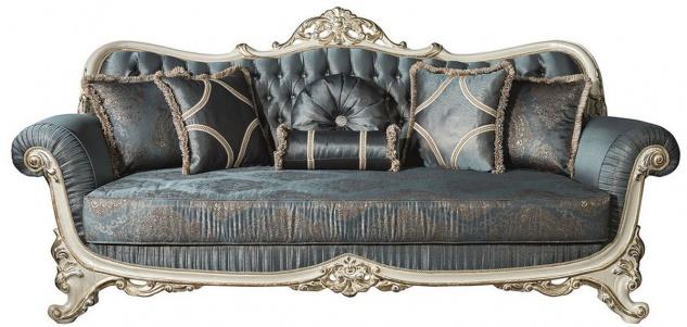 Casa Padrino Luxus Barock Wohnzimmer Sofa mit Glitzersteinen und dekorativen Kissen Blau / Creme / Gold 240 x 95 x H. 105 cm - Edle Couch im Barockstil