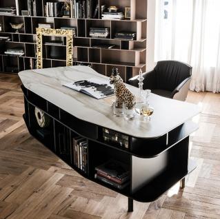 Casa Padrino Luxus Schreibtisch mit Keramikplatte Schwarz / Weiß-Gold 235 x 99 x H. 75 cm - Bürotisch - Computertisch - Luxus Büro Möbel